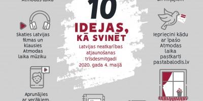 10 idejas, kā svinēt Latvijas neatkarības atjaunošanas trīsdesmitgadi 4. maijā